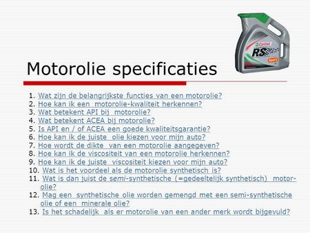 Motorolie specificaties