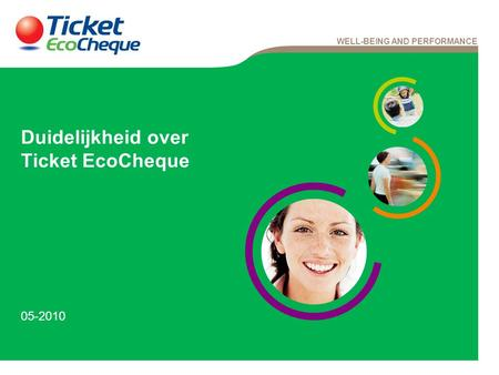 WELL-BEING AND PERFORMANCE Duidelijkheid over Ticket EcoCheque 05-2010.