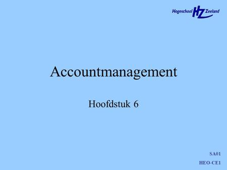Accountmanagement Hoofdstuk 6.