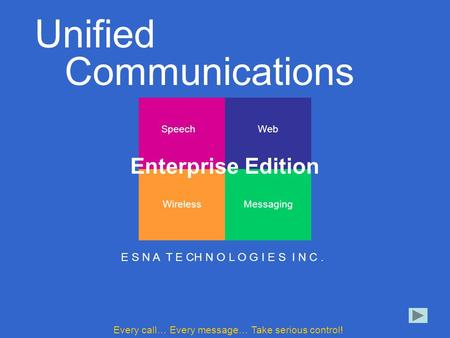 E S N A T E C H N O L O G I E S I N C. Speech Messaging Web Wireless Unified Communications E S N A T E CH N O L O G I E S I N C. Every call… Every message…