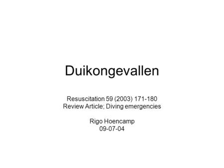 Review Article; Diving emergencies