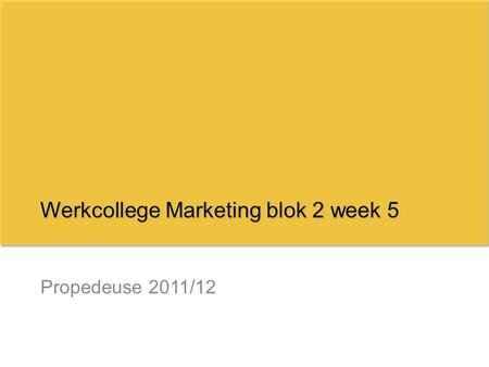 Werkcollege Marketing blok 2 week 5