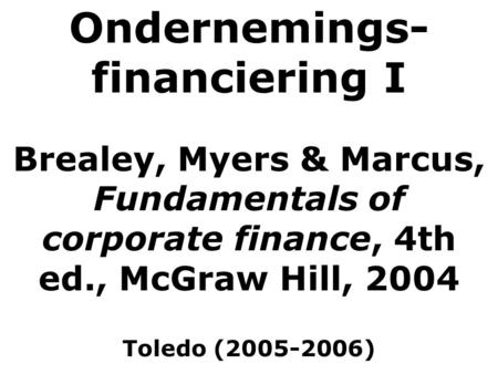 Ondernemings-financiering I