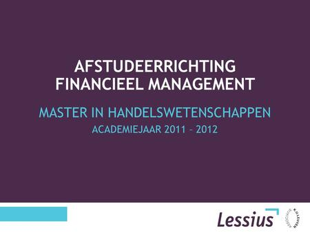 Afstudeerrichting Financieel Management
