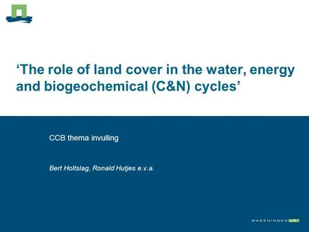 'The role of land cover in the water, energy and biogeochemical (C&N) cycles' CCB thema invulling Bert Holtslag, Ronald Hutjes e.v.a.