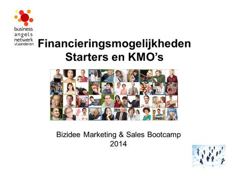 Financieringsmogelijkheden Starters en KMO's Bizidee Marketing & Sales Bootcamp 2014.