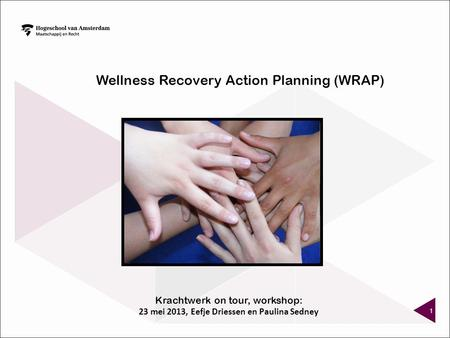 1 Wellness Recovery Action Planning (WRAP) Krachtwerk on tour, workshop: 23 mei 2013, Eefje Driessen en Paulina Sedney.