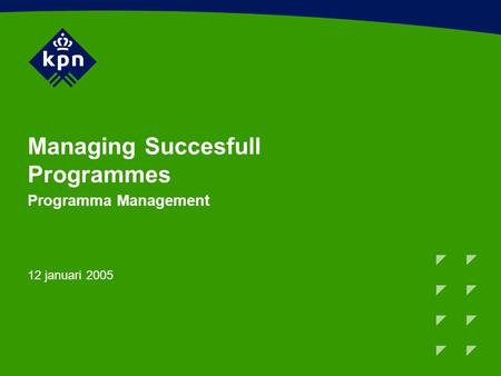 Managing Succesfull Programmes Programma Management 12 januari 2005.