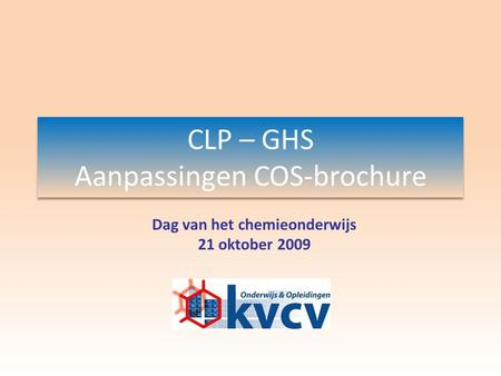 CLP – GHS Aanpassingen COS-brochure