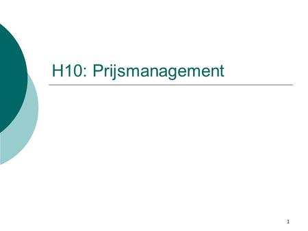 H10: Prijsmanagement.