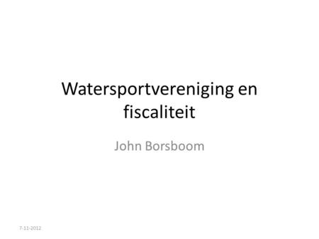Watersportvereniging en fiscaliteit