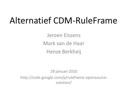 Alternatief CDM-RuleFrame