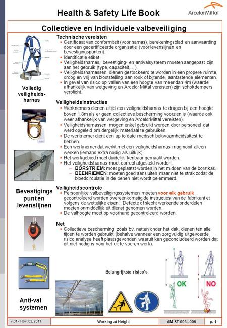 Health & Safety Life Book AM ST 003 - 005 p. 1 v.01 - Nov. 03, 2011 Working at Height Technische vereisten  Certificaat van conformiteit (voor harnas),