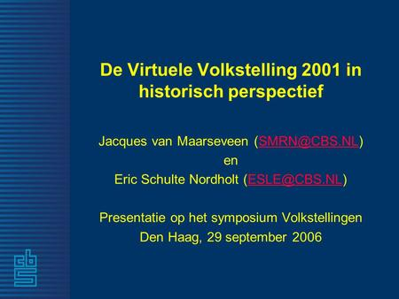 De Virtuele Volkstelling 2001 in historisch perspectief