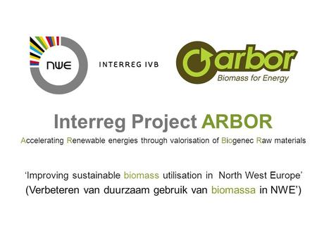What project promoters cannot ignore about INTERREG IVB NWE project management Interreg Project ARBOR Accelerating Renewable energies through valorisation.