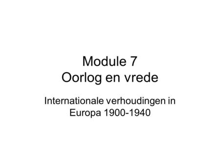Internationale verhoudingen in Europa