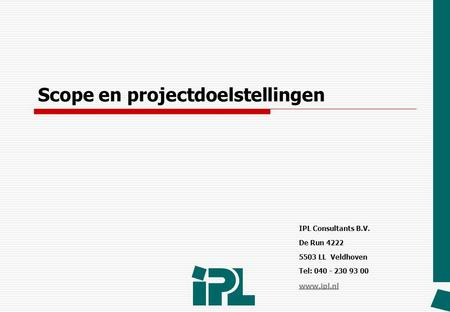 Scope en projectdoelstellingen