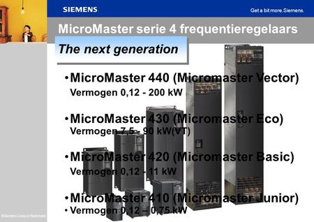 MicroMaster serie 4 frequentieregelaars The next generation
