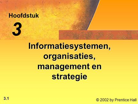 3.1 © 2002 by Prentice Hall Hoofdstuk 3 3 Informatiesystemen, organisaties, management en strategie.