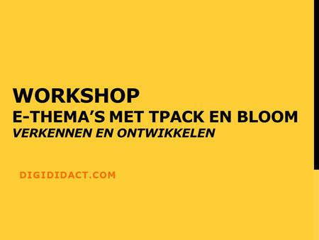WORKSHOP E-THEMA'S MET TPACK EN BLOOM VERKENNEN EN ONTWIKKELEN DIGIDIDACT.COM.