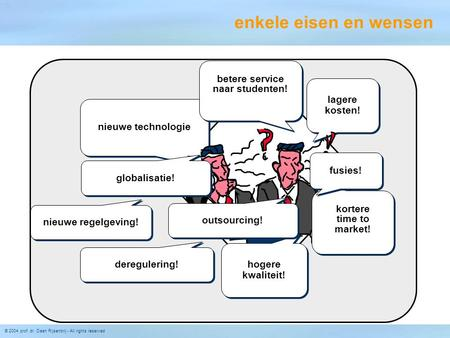© 2004 prof. dr. Daan Rijsenbrij - All rights reserved nieuwe technologie lagere kosten! kortere time to market! kortere time to market! hogere kwaliteit!
