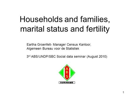 1 Households and families, marital status and fertility Eartha Groenfelt- Manager Census Kantoor, Algemeen Bureau voor de Statistiek 3 rd ABS/UNDP/SBC.