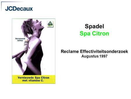 Spadel Spa Citron Reclame Effectiviteitsonderzoek Augustus 1997.