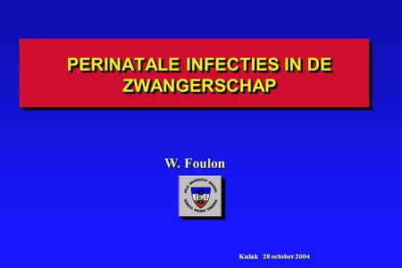 PERINATALE INFECTIES IN DE ZWANGERSCHAP W. Foulon Kulak 28 october 2004.