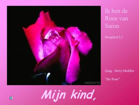 "Mijn kind, Ik ben de Roos van Saron Hooglied 2,1 Zang : Betty Middler ""the Rose"""
