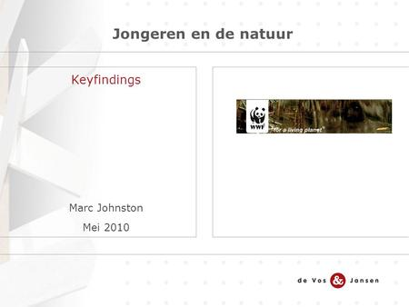 Jongeren en de natuur Keyfindings Marc Johnston Mei 2010.