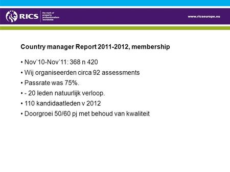 Country manager Report 2011-2012, membership Nov'10-Nov'11: 368 n 420 Wij organiseerden circa 92 assessments Passrate was 75%. - 20 leden natuurlijk verloop.