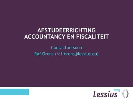 Afstudeerrichting Accountancy en Fiscaliteit