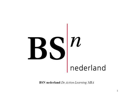 1 BSN nederland De Action Learning MBA. 2 Start Up dag 13 september 2005 Set 54-B 20 setleden –14 uit amp – 1 uit BCB – 5 vrijstelling 1e fase.