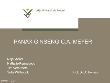 23/07/2014 | pag. 1 PANAX GINSENG C.A. MEYER Najat Aourz Nathalie Renneboog Tim Verstraete Sofie Wijthouck Prof. Dr. A. Foriers.