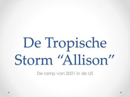 "De Tropische Storm ""Allison"" De ramp van 2001 in de US."