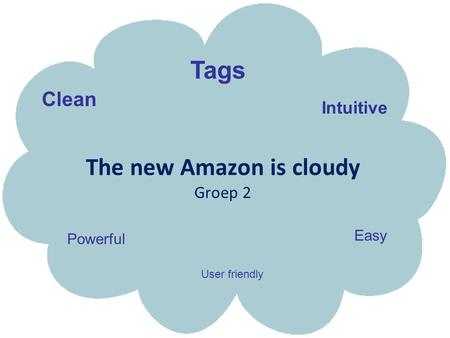 The new Amazon is cloudy Groep 2 Easy Intuitive Clean Powerful Tags User friendly.