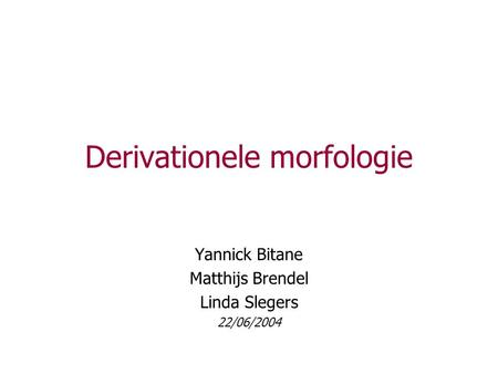 Derivationele morfologie