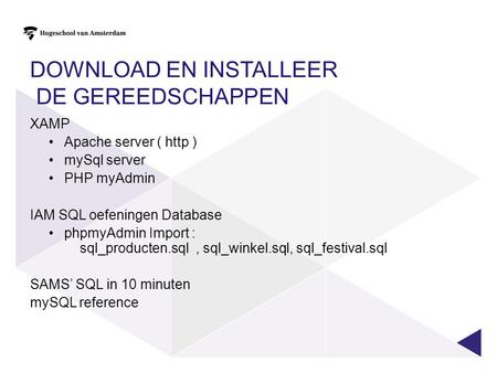 Download en installeer de gereedschappen