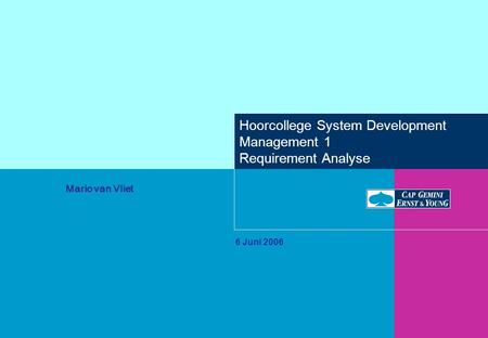 Hoorcollege System Development Management 1 Requirement Analyse 6 Juni 2006 Mario van Vliet.