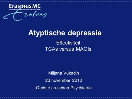 Effectiviteit TCAs versus MAOIs