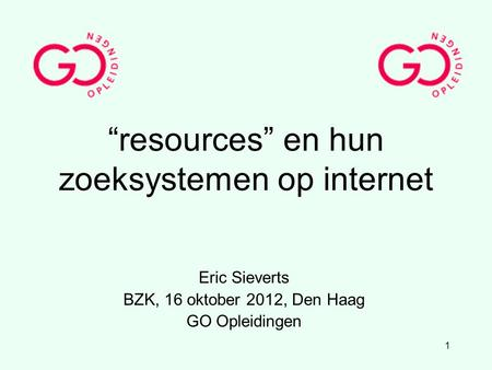 """resources"" en hun zoeksystemen op internet"