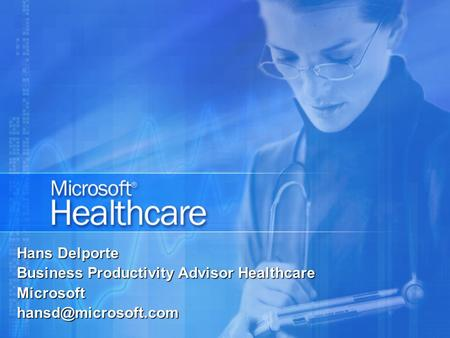 Hans Delporte Business Productivity Advisor Healthcare