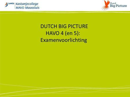 DUTCH BIG PICTURE HAVO 4 (en 5): Examenvoorlichting.