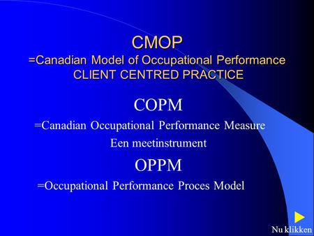 COPM =Canadian Occupational Performance Measure Een meetinstrument