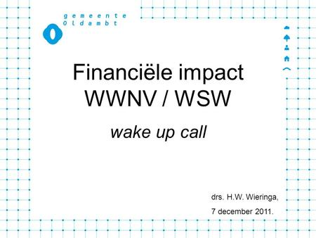 Financiële impact WWNV / WSW wake up call drs. H.W. Wieringa, 7 december 2011.