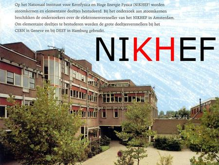 NIKHEF. Sciencepark Amsterdam NIKHEF NIKHEF board FOM, RU, UU, UvA, VU Scientific Advisory Committee (SAC) Directorate Scientific council (WAR) Communication.