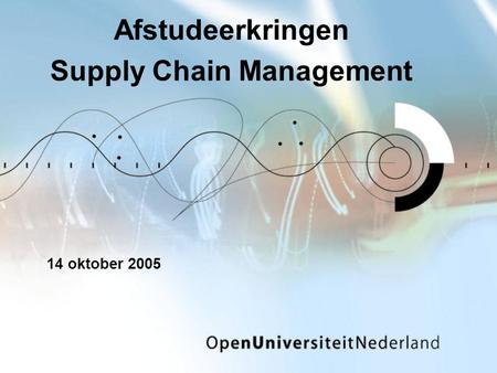 Afstudeerkringen Supply Chain Management 14 oktober 2005.