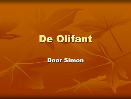 De Olifant Door Simon.
