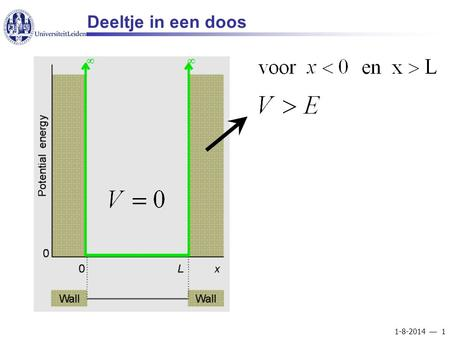 1-8-2014  1 Deeltje in een doos. 1-8-2014  2 Wavefunctions and energies for a particle in a box n.