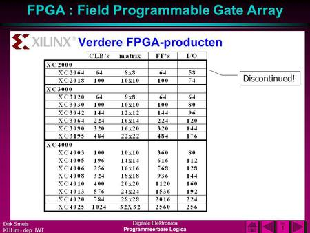 Dirk Smets KHLim - dep. IWT Digitale Elektronica Programmeerbare Logica FPGA : Field Programmable Gate Array DIA 1 DIA 1 Verdere FPGA-producten Discontinued!
